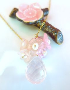 Valentines Day pink cherry blossom rose quartz gold by KBlossoms
