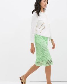 ZARA - WOMAN - GUIPURE LACE PENCIL SKIRT - fun long skirt