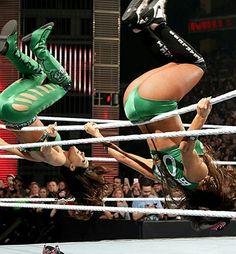 The Bella Twins Wwe Girl Wrestlers, The Fabulous Moolah, Wwe Stephanie Mcmahon, Famous Twins, Wwe Outfits, Nikki And Brie Bella, Wwe Girls, Wrestling Divas, Wwe Womens