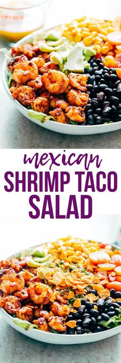 Mexican Prawn Avocado Taco Salad - Hearty and Healthy! Mexican Prawn Avocado Taco Salad is loaded with lettuce, black beans, avocado, cherry tomatoes, corn and a delicious cilantro lime dressing. So YUM! Shrimp Salad Recipes, Seafood Recipes, Mexican Food Recipes, Cooking Recipes, Healthy Recipes, Dinner Recipes, Prawn Salad, Salad With Shrimp, Pasta Salad