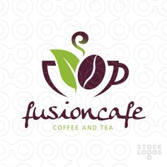 Logo: Fussion Coffee and Tea Coffee Shop Signs, Coffee Shop Logo, Coffee Branding, Web Design, Logo Design, Graphic Design, Coffee Bean Art, Green Cafe, Tea Logo