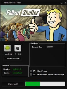 "Sorry for my last inactivity but studies absorbed most of my time. Today we have prepared for you Fallout Shelter Hack, who generate any quantity lunch boxes .Discussing the game it should be noted that it is very different from others of the production with ""fallout"" in the name.In the game, the emphasis is put on shelter management and development of the shelter."
