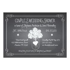 Chalkboard Mason Jar Rustic Couples Wedding Shower 5x7 Paper Invitation Card