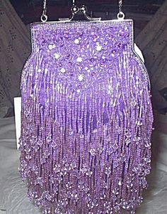 Stunning Purple Beaded Rhinestone Handbag -JESSICA MCCLINTOCK