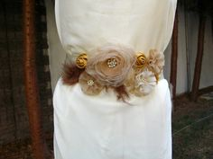 Bridal Sash Wedding  Dress Sash Belt Shades of Cream by nezoshop
