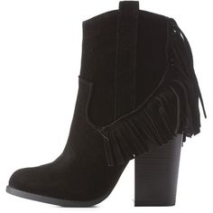 Charlotte Russe Black Block Heel Fringe Booties by Mark & Maddux at... (€38) ❤ liked on Polyvore featuring shoes, boots, ankle booties, black, cowboy boots, black ankle booties, faux suede booties, short black boots and short boots