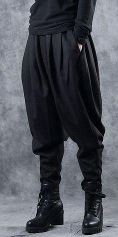 5738042e19a Black Thick Casual Harem Pants Women Loose Woolen Trousers W0361 Black Harem  Pants