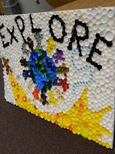 Bottle Cap mural - great idea for a recycling project!