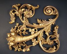 Ornate Scrolled Wall Hanging Vintage Embellishment by DsTrove, $29.50
