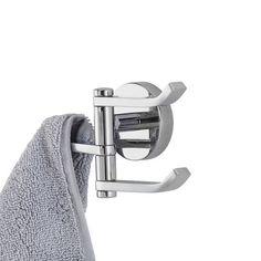 Minimalist 3 arm swivel robe hook | bathstore
