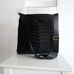 Black Canvas Pleated Bag with Leather Strap. 62. etsy