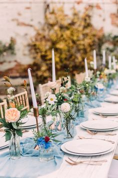 Long wedding table, able blue silk runner, white crockery set off with copper cutlery Picnic Table Wedding, Round Wedding Tables, Wedding Vases, Reception Table, Wedding Table Runners, Candle Centerpieces, Wedding Table Centerpieces, Long Candles, Unique Wedding Stationery