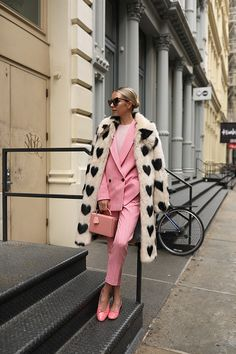 dbae8f602ffc Blair Eadie of Atlantic-Pacific wearing a faux fur jacket and colored suit  //
