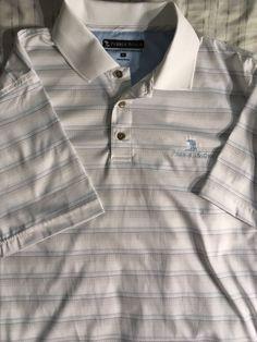 0da39e991 New Mens Medium Pebble Beach White DRY-LUXE Performance Polo Golf Shirt   fashion