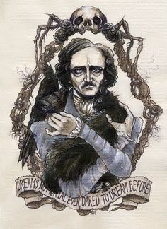 Edgar Allan Poe gothic Halloween illustration by BohemianWeasel, €110.00 #beautiful #illustration #poe