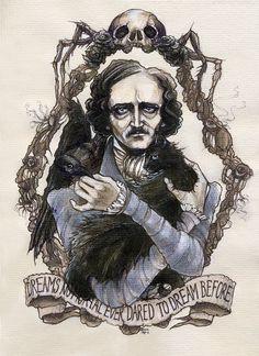 Edgar Allan Poe gothic Halloween illustration by BohemianWeasel, €110.00 #beautiful #illustration #poe