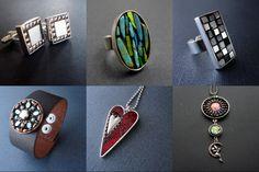 Handmade artisan jewelry by Crooked Moon Mosaic Studio