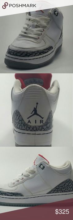 "Shop Kids' Jordan White Gray size size Sneakers at a discounted price at Poshmark. Description: Nike Air Jordan 3 Retro ""White Cement"" Fire Red-Cement Grey Sold by Fast delivery, full service customer support. Jordan Shoes For Sale, Air Jordan 3, Kids Jordans, Username, Cement, Nike Men, Shoes Sneakers, Fire, Retro"