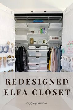 Elfa closet ideas. Redesigned elfa closet. Elfa closet. Elfa closet walk in. Elfa closet ideas small spaces. Elfa closet reach in. Elfa closet ideas walk in. Elfa closet system. Closet organization. Closet organization ideas. Closet organization ideas small. Closet organization hacks. Closet organization ideas small bedroom. #elfaclosetideas #elfacloset #elfaclosetwalkin #elfaclosetideassmallspaces #elfaclosetreachin #elfaclosetideaswalkin #elfaclosetsystem #closetorganization Under Sink Organization, Small Closet Organization, Life Organization, Bathroom Organization, Small Closet Space, Small Spaces, Elfa Closet System, Life Hacks Diy, Drawer Labels