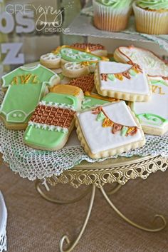 Decorated cookies at a Vintage Shabby Chic Mint and Gold Baby Shower!  See more party ideas at CatchMyParty.com!