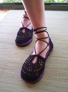 Black  and Purple Laced Guillerminas. $62.00, via Etsy. I have wanted a pair of these forever!