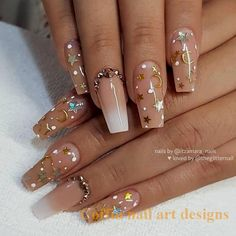 Nude and Ombre with Stars, Moons, Dots and Crystals on Coffi.- Nude and Ombre with Stars, Moons, Dots and Crystals on Coffin Nails Wedding Acrylic Nails, Best Acrylic Nails, Summer Acrylic Nails, Matte Nails, Wedding Nails, Summer Nails, Glitter Nails, Aycrlic Nails, Pink Nails