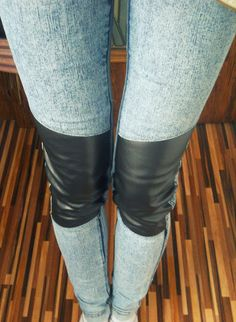 Jeans with leather inserts  libellulaa.blogspot.com