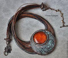 by Elena Erukova, vintage polymer clay jewerly Polymer Clay Owl, Polymer Clay Necklace, Polymer Clay Pendant, Metal Clay Jewelry, Pendant Jewelry, Beaded Jewelry, Earrings Handmade, Handmade Jewelry, Jewelery