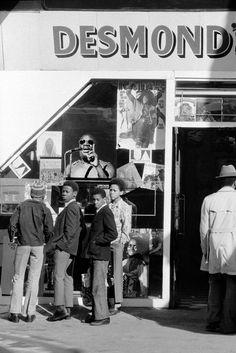 School children outside Desmond's Hip City record shop in Brixton. 1973.