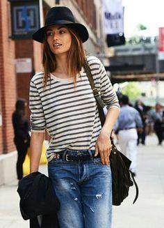 Stripes and boyfriend jeans