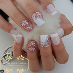 50 Top Best Wedding Nail Art Designs To Get Inspired Frensh Nails, Lace Nails, Prom Nails, Gorgeous Nails, Pretty Nails, Beautiful Nail Art, Acrylic Nail Designs, Nail Art Designs, Mandala Nails