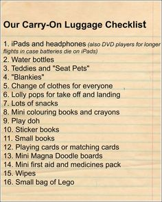 Travelling With Kids Part 1- Carry-on Luggage for Air Travel - Our Little House in the Country, #travel #airtravel #travelwithkids