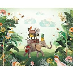 Kinderbehang Jungle #wallpaper #kids | Pimpelmees via Kinderkamerstylist