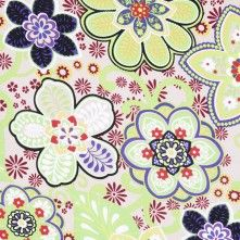 Lime Green/Beige Floral Stretch Cotton Sateen