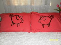 Cute Little Blue Eyed Pigs Hand Painted Pillow by TreasuresShop, $28.00
