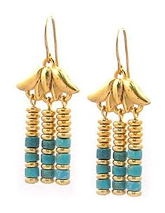 "Gold Finish Lotus Egyptian Triple Drop Turquoise Earrings 1.5"" - Museum Jewelry With History Card, USA Pricegems http://www.amazon.com/dp/B00HZVOB84/ref=cm_sw_r_pi_dp_mdoowb0RFKQP4"