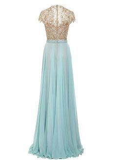 comprar Encaje atractiva y gasa de seda-como la reina Ana escote Una línea de vestidos de noche de descuento en Dressilyme.com