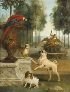 JEAN-BAPTISTE OUDRY PARIS 1686 - 1755 BEAUVAIS THREE DOGS AND A MACAW IN A PARK