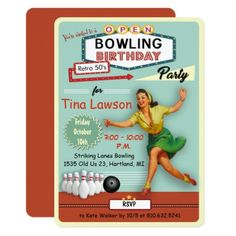 ANY AGE - Retro Bowling Birthday Invitation - birthday gifts party celebration custom gift ideas diy