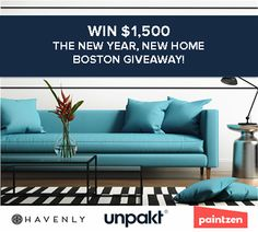 Hey #Boston! Enter to win $1,500 in prizes from Unpakt, Havenly and Paintzen! #giveaway #prizes