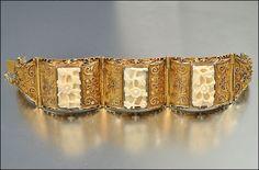 Chinese Ox Bone Vermeil Silver 800 Bracelet Art Deco 1930's by OurBoudoir