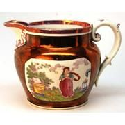 English Copper & Pink Lusterware Pitcher
