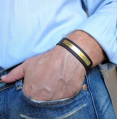 Hand Stamped Quote Bracelet. Leather Mens by NadinGlassico on Etsy, $49.00