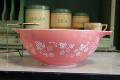 Pyrex Pink Gooseberry Pattern  Large Cinderella Bowl by Mima55, $28.00