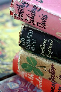 I love the colors in these old books and I love the clover.