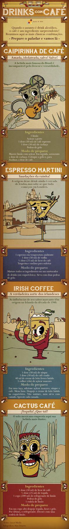 Aprenda a preparar deliciosos drinks com café. Conheça receitas de quatro países diferentes!