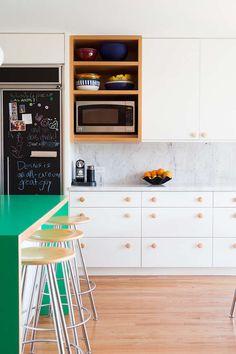 Amazing green island in a modern California kitchen