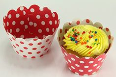 Disposable Baking Cups Reversible Cupcake Wrappers Wrap Liners Minnie Mouse Red White Polka Dot 2 X 325 X 2 1sets of 24 Liners Cups ** Click image for more details.