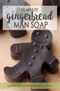 These easy gingerbread man soap bars are made with African Black soap base and make for an excellent gift! Learn how to make them in minutes! | DIY Bath and Body | Soap Making | Melt and Pour Soap | Christmas Gift | Mom Makes Joy