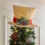Snow Dusted Burlap Top Hat | Kirklands